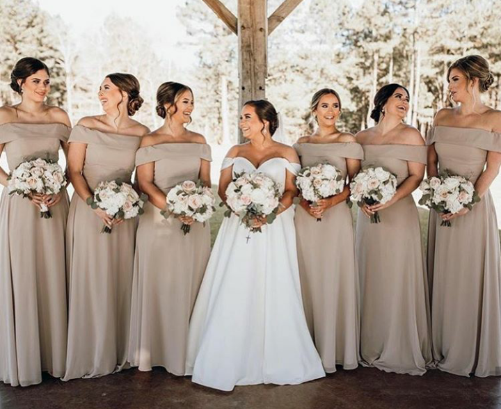 Off The Shoulder Gowns In 2020 Bridesmaid Designer Bridesmaid Dresses Bridesmaid Dresses