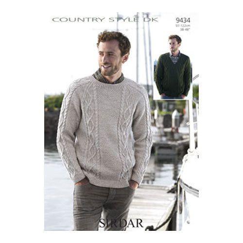 Sirdar-9434-Knitting-Pattern-for-Aran-Sweater-Sizes-38-ins-48-ins