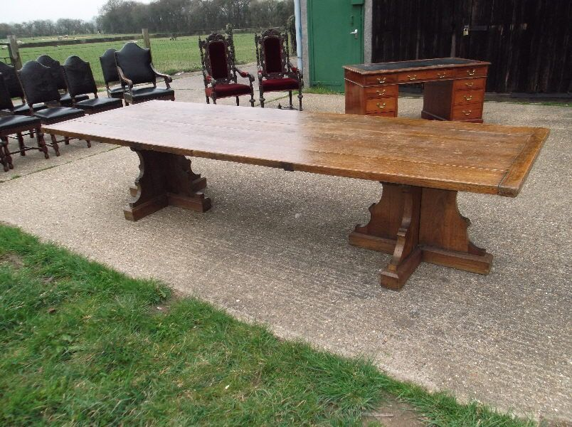 Large Antique Refectory Table 12ft Arts And Crafts Oak Refectory Table From Eton College L In 2020 Antique Refectory Table Refectory Table Large Dining Room Table