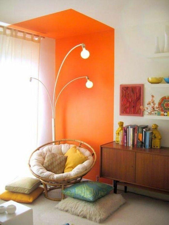 interessantes modell wohnzimmer wandfarben vorschläge - wandgestaltung wohnzimmer orange