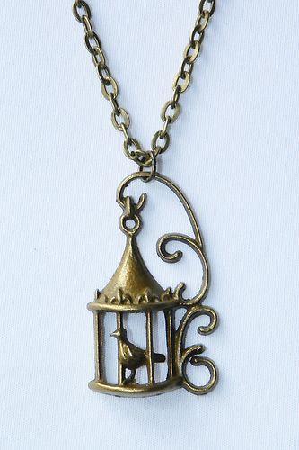 #necklace #accesories #jewelry #fashion #vintage Singing Bird in Cage Anitque Tone Necklace Kitsch Retro Boho Vintage | eBay