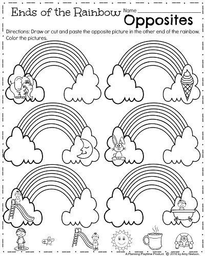 Kindergarten Opposites worksheet to teach antonyms