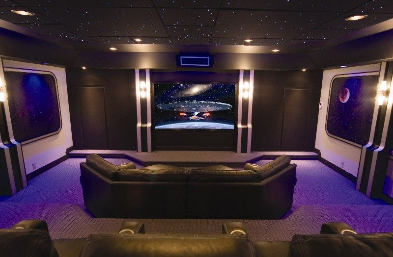 sci fi home theater but I love the black and purple for The Ravens ...
