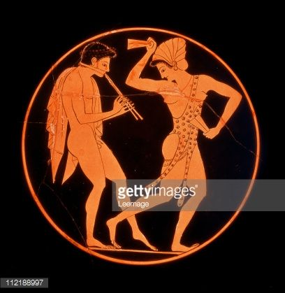 Fine art : Greek Art. Diaulos Player and Dancing Woman. Red-Figure Vase, Detail. From Vulci, 520-510 BC. British Museum, London, UK