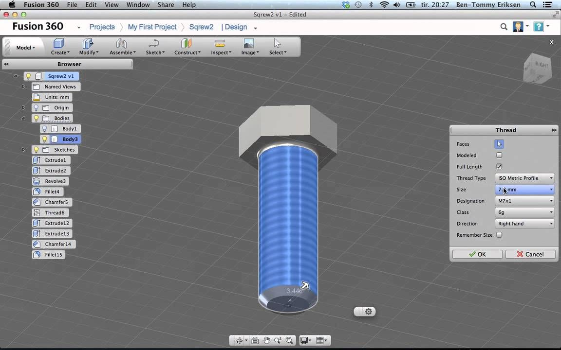 Autodesk Fusion 360 tutorial: screw with threads | Autodesk