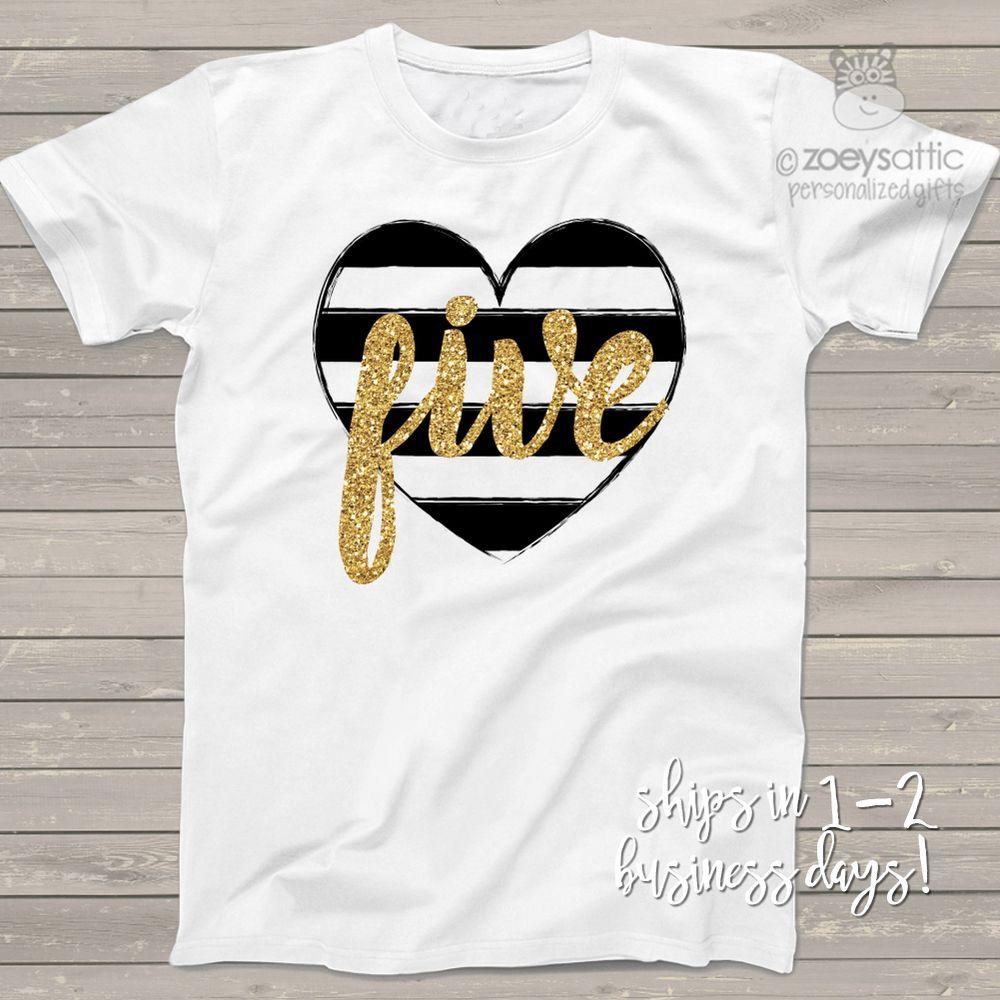 Fifth birthday black white heart gold glitter five tshirt