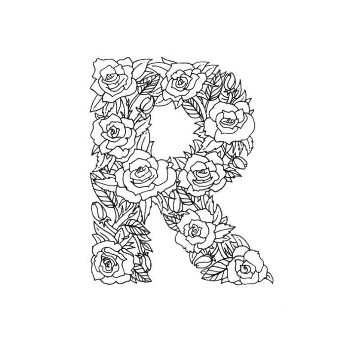 Floral Type Letter R Art Print By Boelter Design Co Coloring Books Free Coloring Pages Coloring Letters