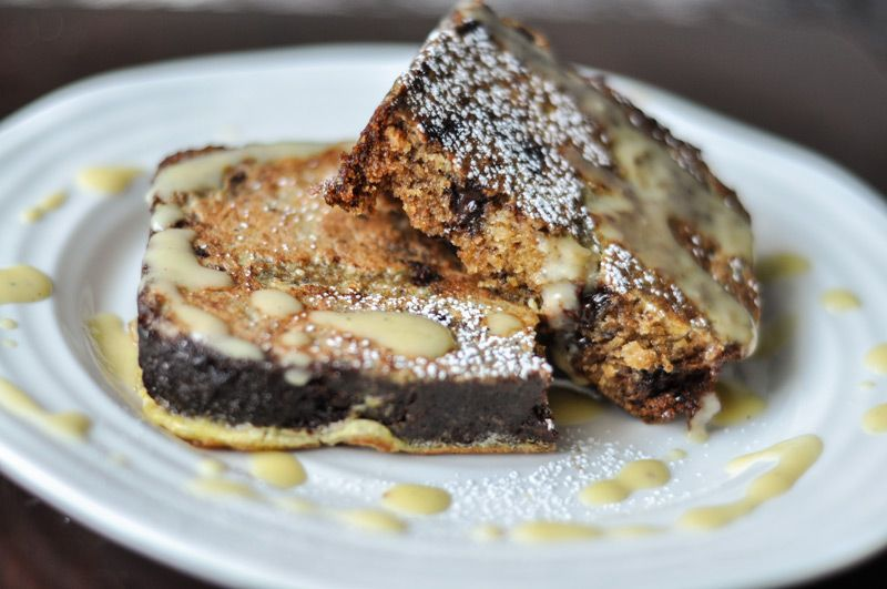 Chocolate Chip Banana Bread French Toast with Coconut Crème Anglaise