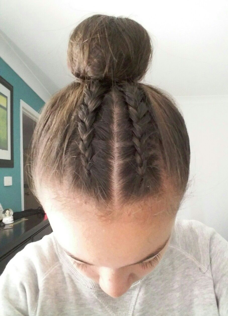 My Go To Hairstyle 2 Dutch Braids Into A High Bun With Images