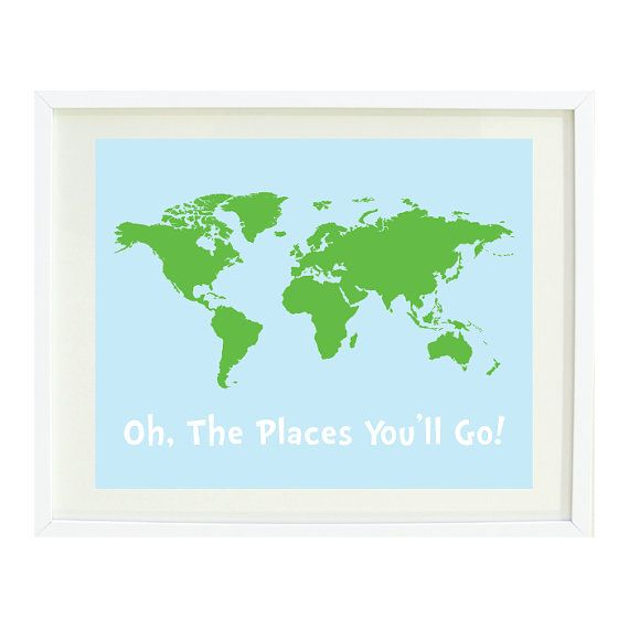 Oh the places youll go quote art print 8x10 world map light blue world map print dark textured world map poster printable men gift dark map print printable gift for him world map posters modern gumiabroncs Image collections