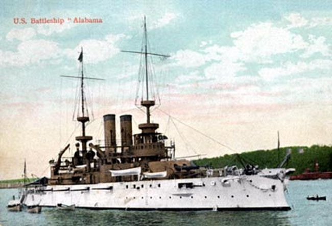 USS Alabama (BB-8). Ordered: 10 June 1896. Builder: William Cramp & Sons. Laid down: 1 December 1896. Launched: 18 May 1898. Commissioned: 16 October 1900. Decommissioned: 7 May 1920. Struck: Transferred to War Department, 15 September 1921. Fate: Used as target by Army Air Service, 27 September 1921. Sold for scrap, 19 March 1924. Class & type: Illinois-class battleship. Displacement:	11,565 tons.