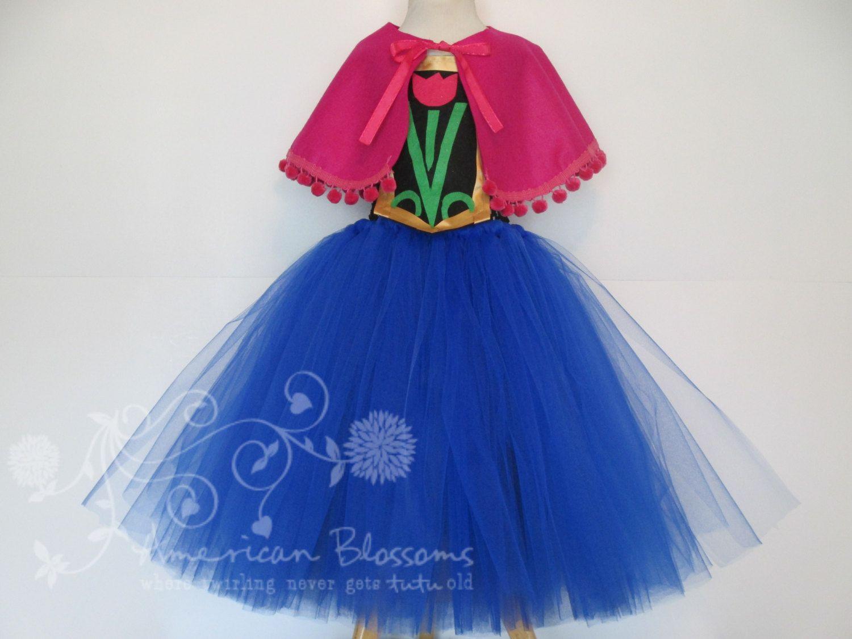 Anna Costume Tutu Dress Cape Girls Toddler Frozen Halloween ...