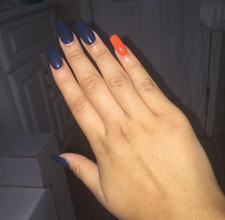 Navy Blue & Orange Coffin Nails | N A I L S | Pinterest | Coffin ...