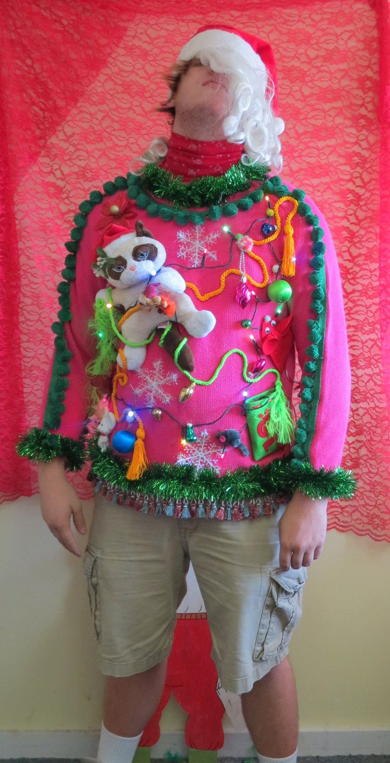 Real Men Wear Pink Mad Cat Totally Wild Kitty Light Up Tacky Ugly