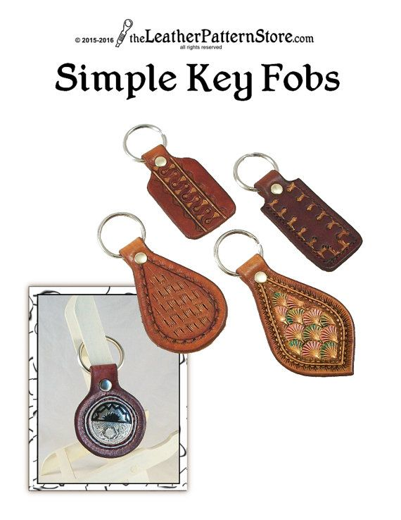 Pattern Simple Key Fob Patterns For Leathercraft Pdf Etsy In 2021 Leather Key Fobs Leather Pattern Leather Craft