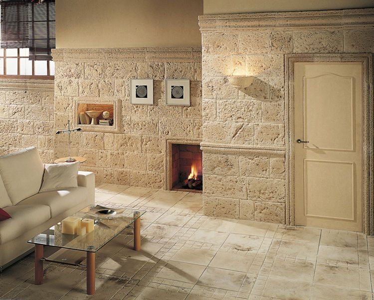 Plaqueta de fachaleta de hormig n de exteriores interior aspecto piedra travertino - Revestimiento paredes imitacion piedra ...