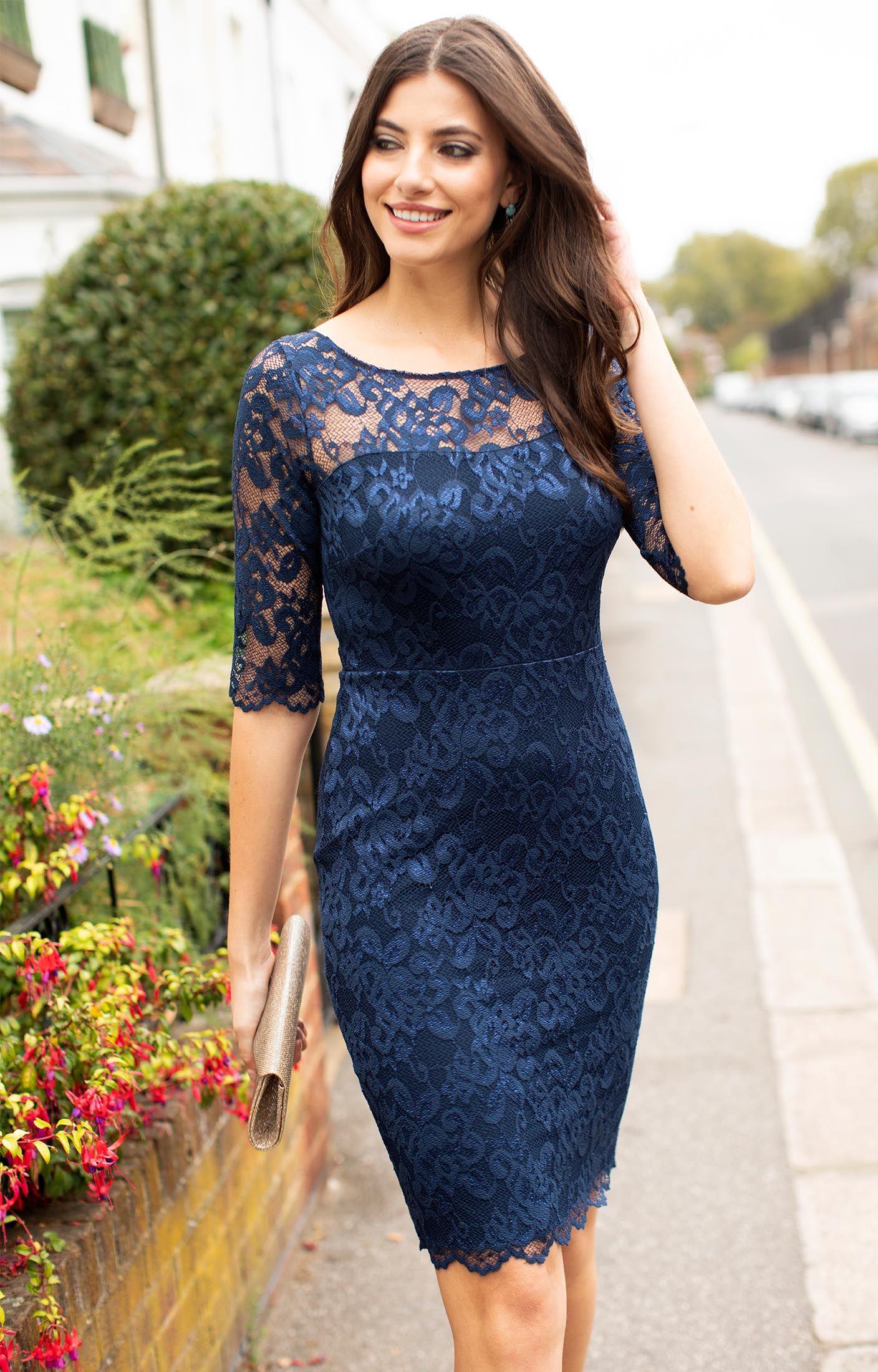 Lila Lace Dress Navy By Alie Street In 2021 Purple Lace Dress Lace Dress Styles Women Lace Dress