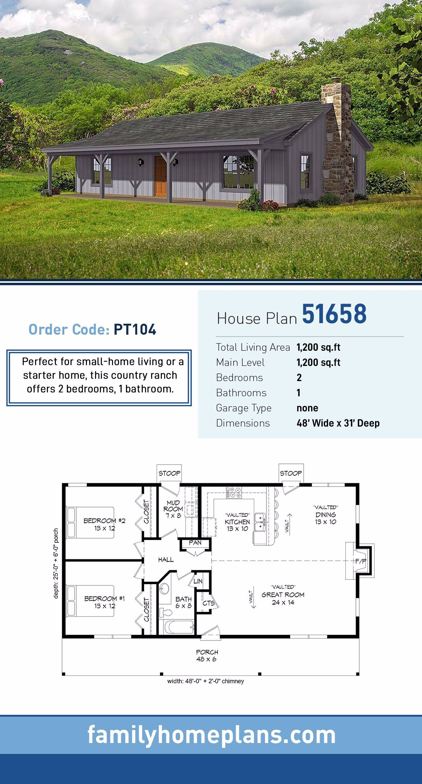 Starter Home Plan 51658 Total Living Area 1 200 Sq Ft 2 Bedrooms And 1 Bathroom Perfect For In 2020 Pole Barn House Plans Barn House Plans Ranch Style House Plans