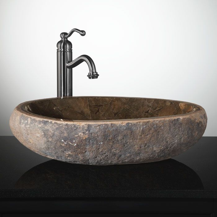 Mosaic Natural River Stone Vessel Sink - Brown Onyx River stones - Vessel Sinks Bathroom