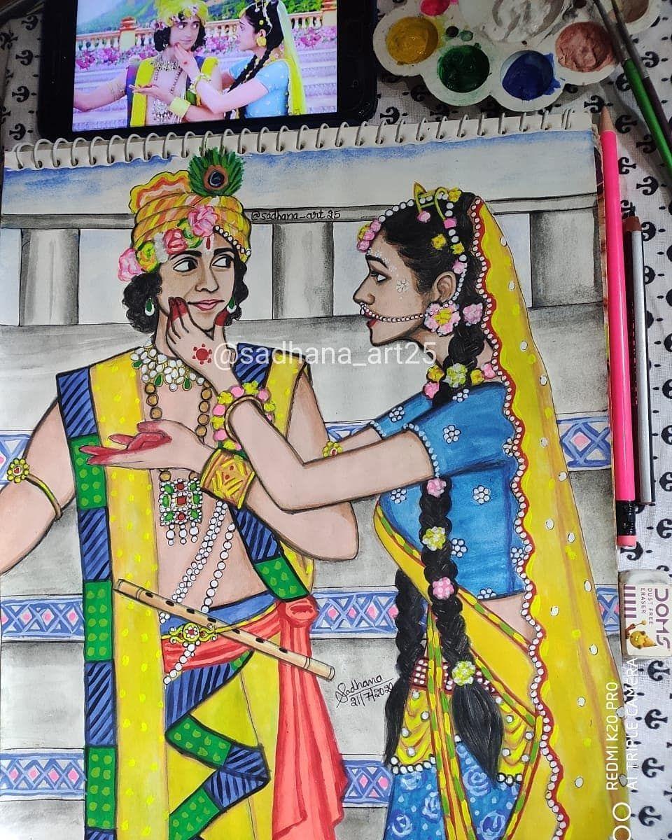 57 Likes 10 Comments Sadhana Gautam Sadhana Art25 On Instagram Remembering The Scene Whe Krishna Art Beauty Art Drawings Art Drawings Sketches Simple