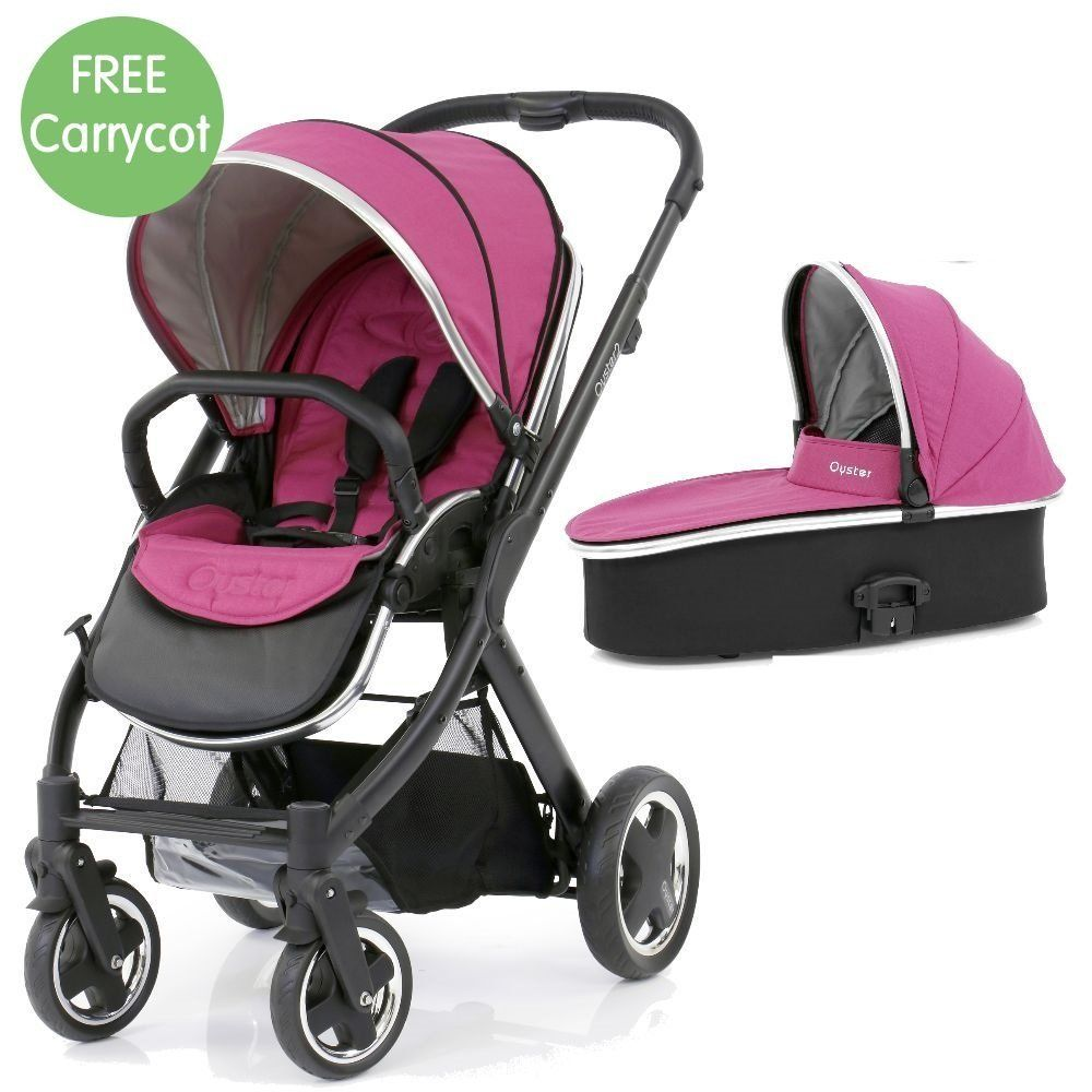 Oyster Pram Purple Babystyle Oyster 2 Maxi Bundle With Black Frame Wow Pink