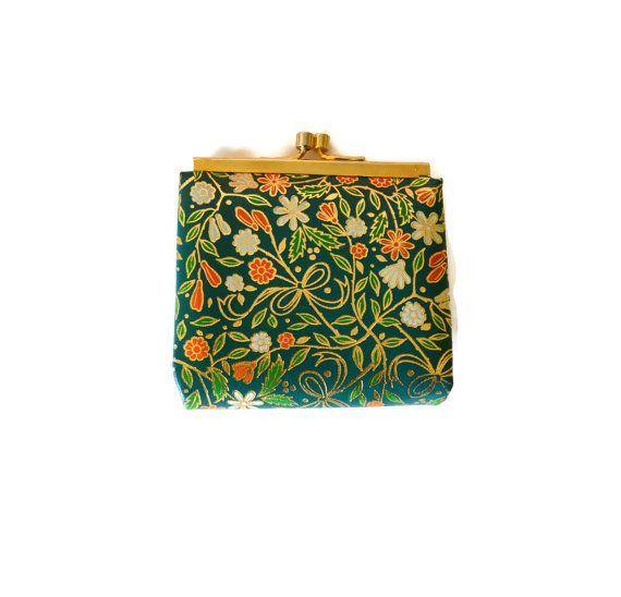 Tiny Vintage Venetian Purse in Painted Leather Made in Italy Green Orange Gold Filigree  White Bag Wallet Handbag Boho