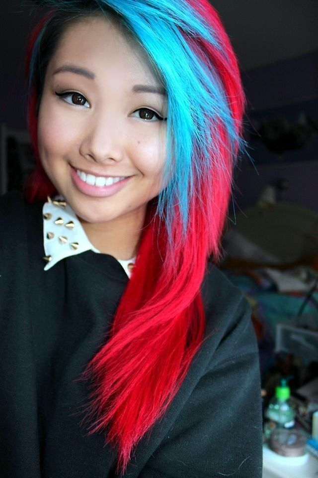 Bright Blue And Red Dyed Hair It Reminds Me Of Those Red White