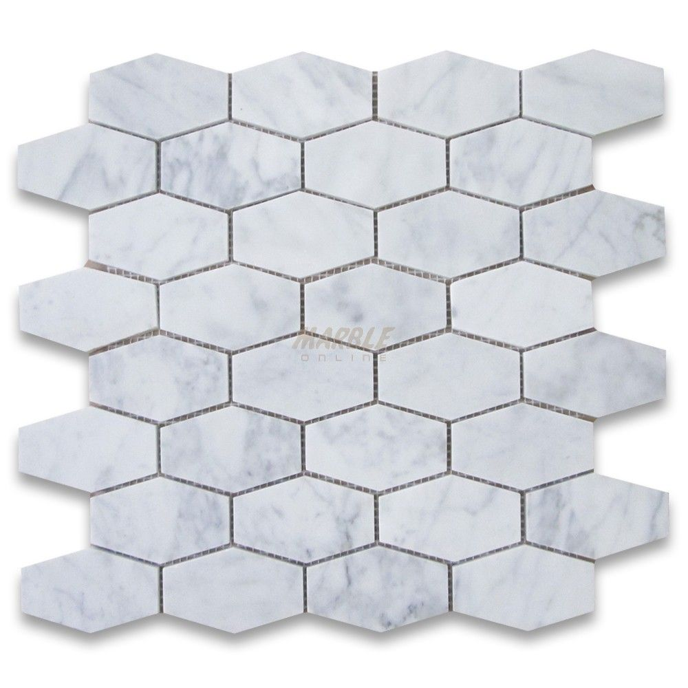Carrara white 1 14 x 3 elongated hexagon mosaic tile honed carrara marble elongated hexagon mosaic tile honed traditional wall and floor tile stone center online dailygadgetfo Image collections