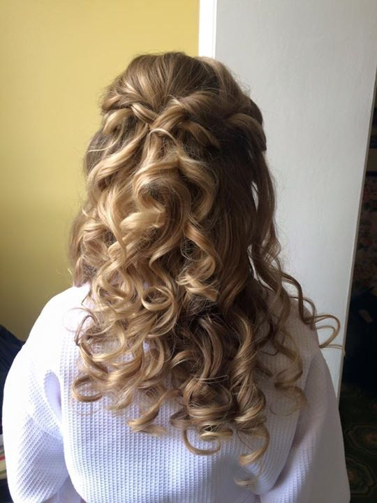 Pretty curls with a few twists pulled back! Perfect half up style for those chilly fall weddings!
