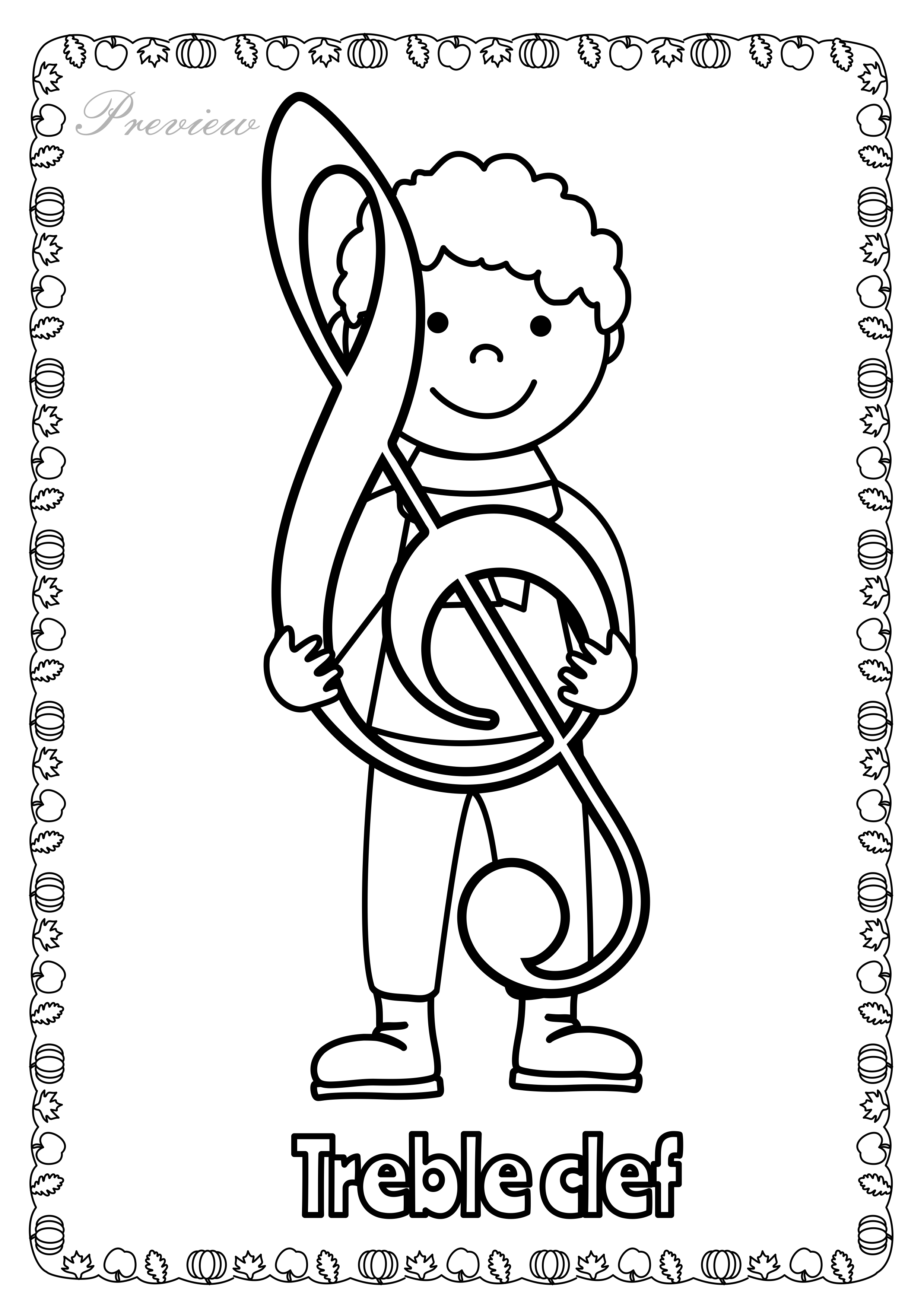 It is a graphic of Gutsy Treble Clef Coloring Page