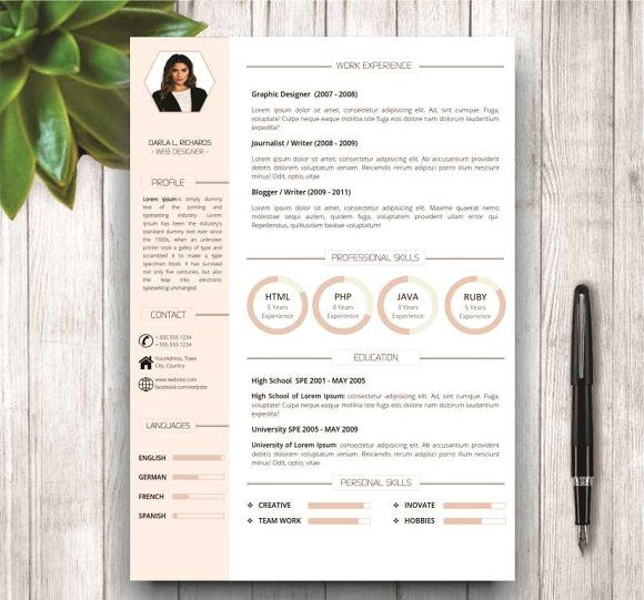 Modern Resume Template For Word By Wordresume On Creativemarket