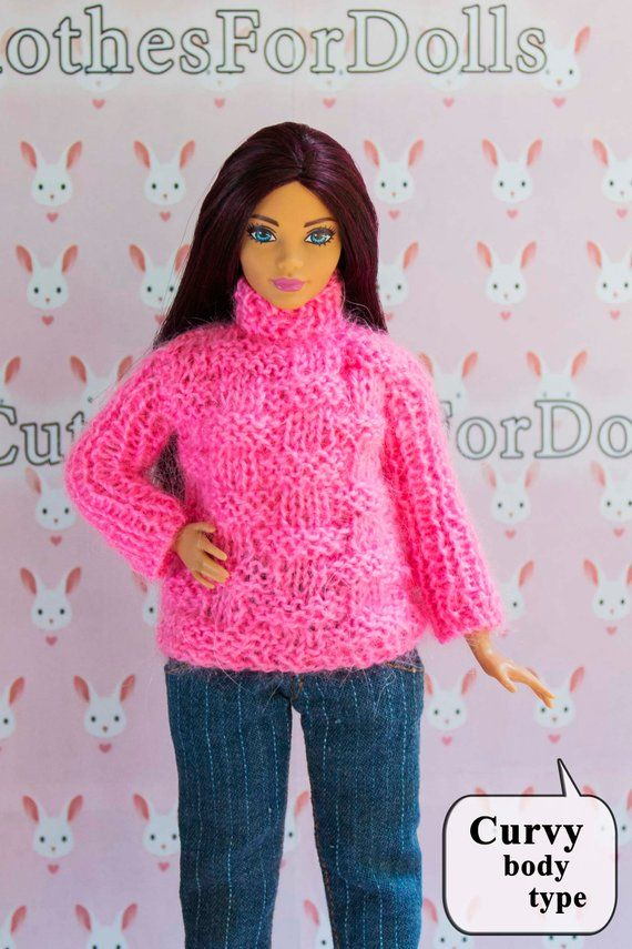 Curvy barbie clothes pink sweater. Curvy barbie pink pullover. Tall barbie  clothes. Doll. Outfit. 8c24d0fb1