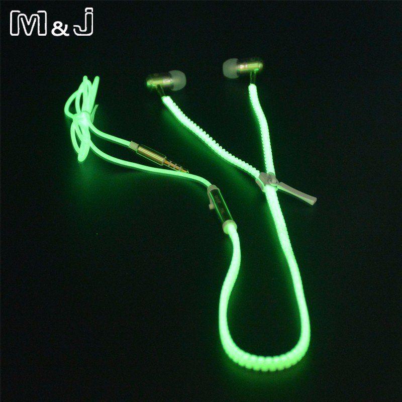 Glowing earphone thefunnygift zipper earbuds zipper