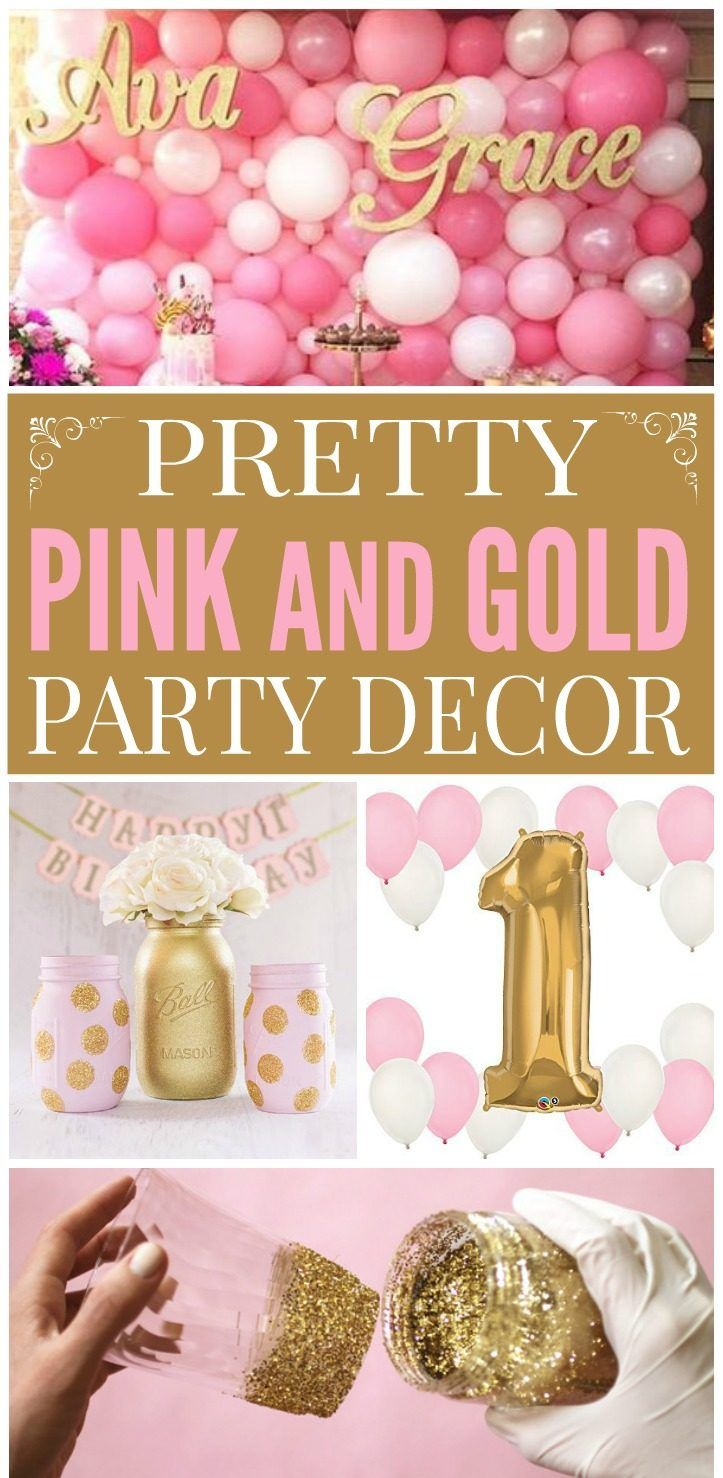 Pink Gold Decorations Gold party decorations Pink gold party