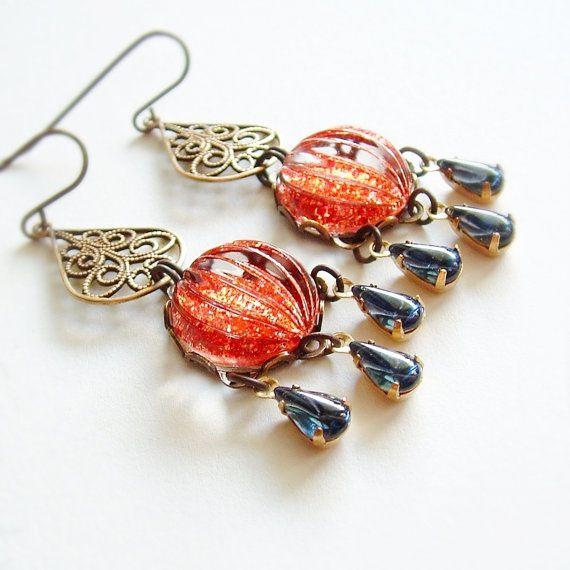 Orange Glass Chandelier Earrings Vintage Cabochons by skeptis ...