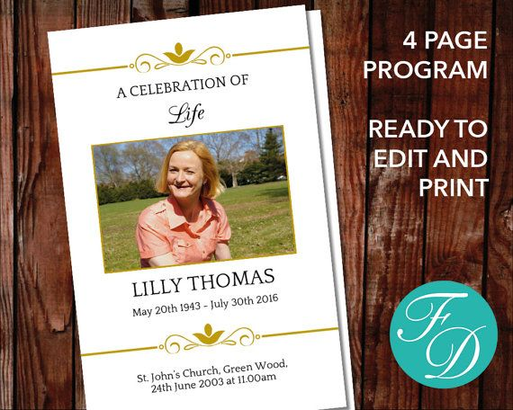 Funeral Program Funeral Programs Funeral Template Memorial
