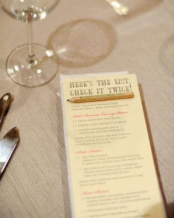 Too Cute For A Christmas Wedding Menu But The Check It Twice Wording Could Be
