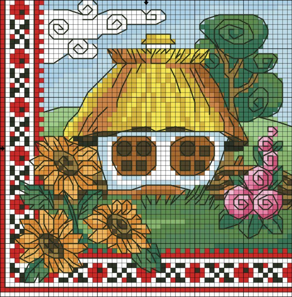 Points de croix *@* Maison 1 | Point de croix, Point de croix maison, Broderie