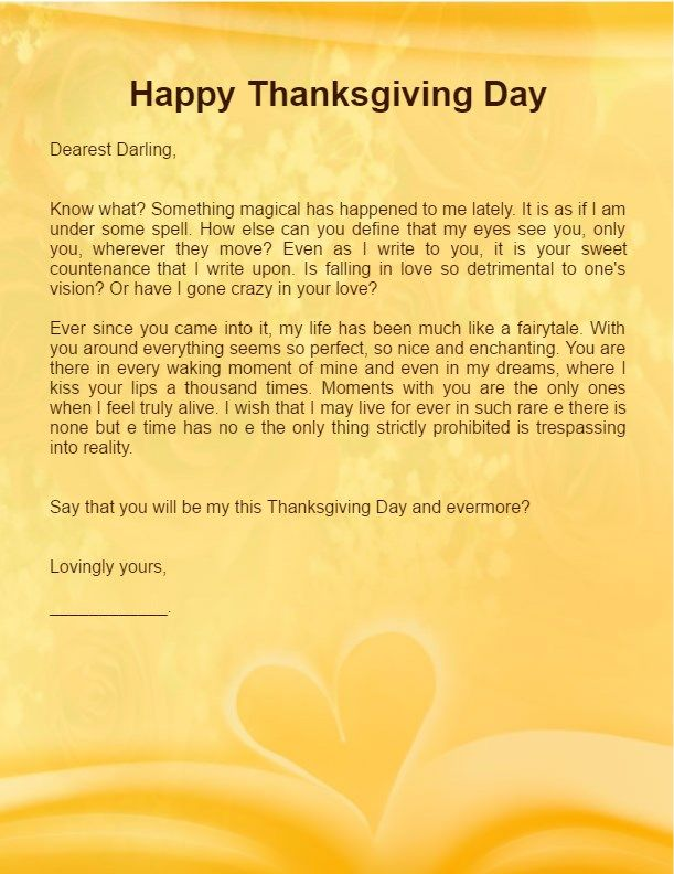 Thanksgiving Love Letter For Boyfriend Husband  Future Husband