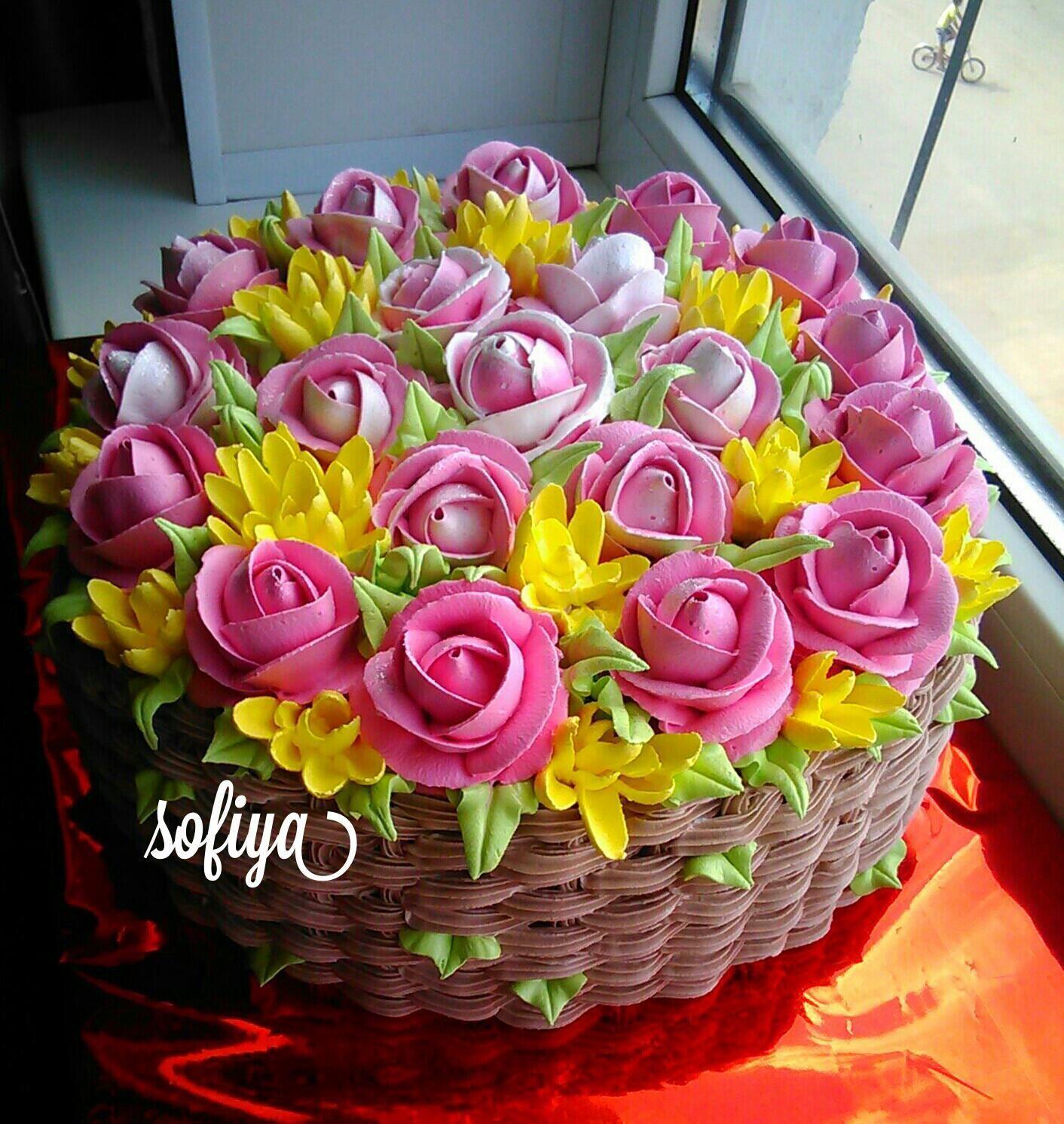 торт корзинка роз кремовый фото открывании такой