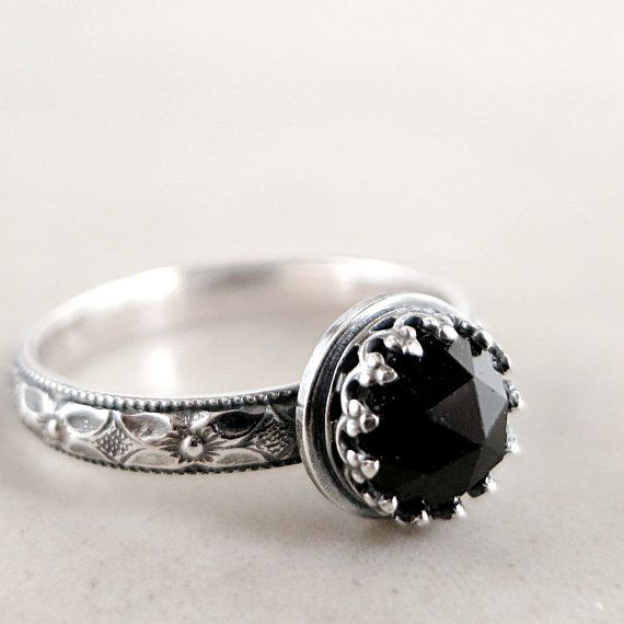 Gothic Jewel Black Spinel ring Sterling by BarronDesignStudio