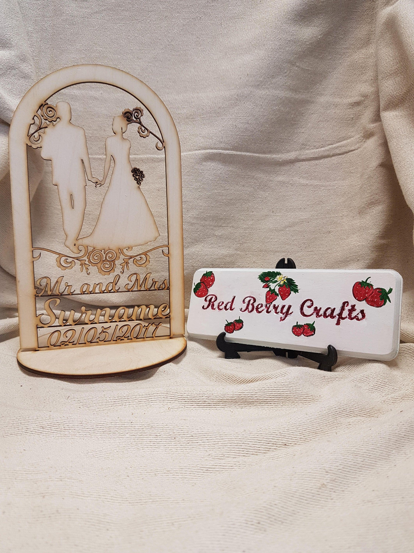 Personalised wedding cake topper mr u mrs last name date