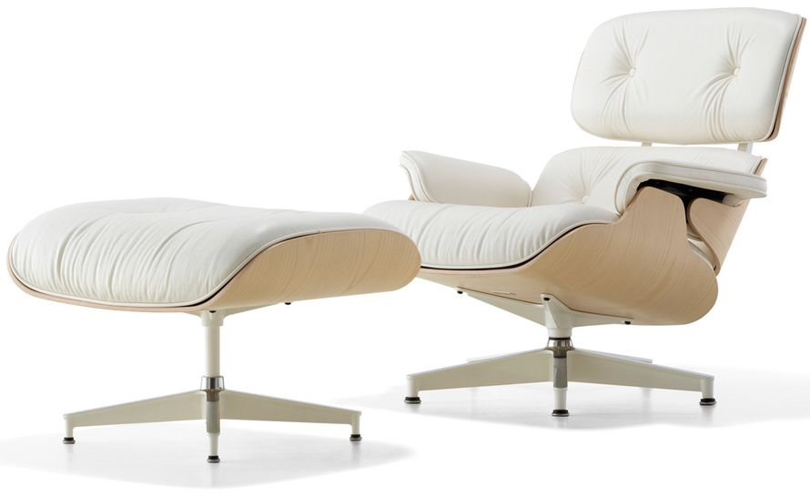 White Ash Eames Lounge Chair Ottoman Beautiful And