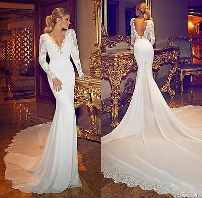 Y V Neck Long Sleeve Backless Lace Wedding Dresses White Ivory Bridal Gown
