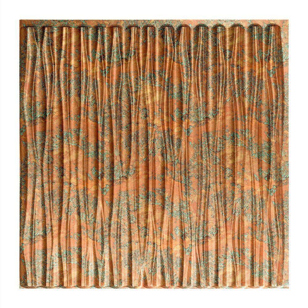 Dunes Vertical - 2 ft. x 2 ft. Glue-up Ceiling Tile in Copper Fantasy