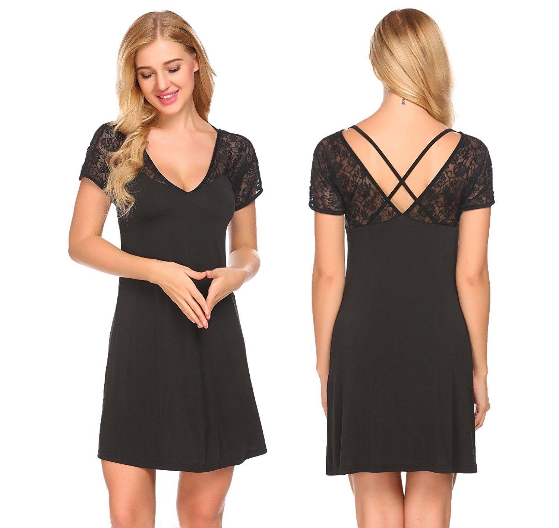 64809090a1 Women s Nightgown V-Neck Short Sleeve Nightwear Lace Sleepwear ...