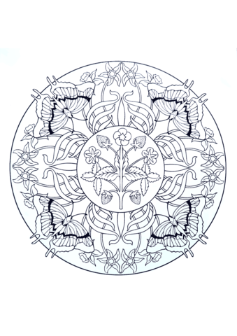 Mandala with Butterflies And Strawberry Coloring page