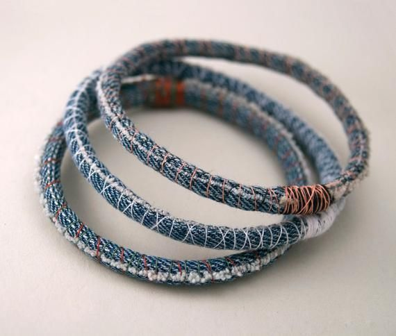 Photo of Three (3) denim bracelets – upcycled scrap fabric bracelet – repurposed jeans – …