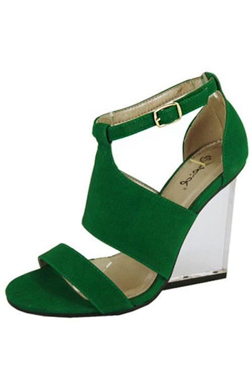BASIC SUEDE SANDAL WEDGE- Green