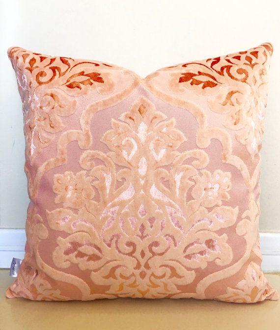 Salmon Velvet Pillow Cover Peach Pillow